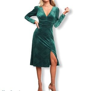 Ali & Jay I'm nominated velvet teal midi dress XS